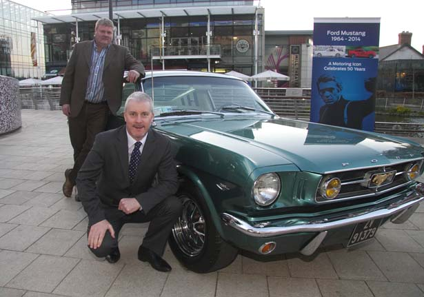 At an event in Dublin to celebrate the 50 year of the Ford Mustang were Ciaran McMahon, Marketing Director, Ford Ireland; and Steve McMillan, owner of the pictured 1966 Ford Mustang Fastback GT. In addition to celebrating this 50 year milestone, Ford Ireland is also looking forward to the arrival of the new 2015 Ford Mustang to Ireland next year, when the car will be on sale here and across Europe for the first time in the car's history.
