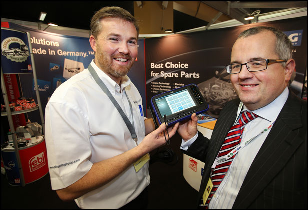 Colin Kennedy from Bilstein Group and and Ronan Connealy from QH Autoparts pictured at the Auto Trade Expo at CityWest.