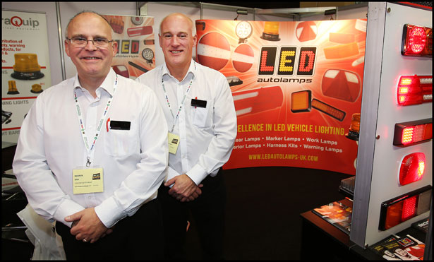 Maurice Bibb and Paul Denton from LED Autolamps Europe LLP pictured at the Auto Trade Expo at CityWest.