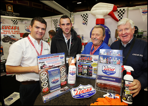 Paul Coffey from Parts 2000, Barry Conroy, Les Downey from Lucas Oils (UK) and John Twohig from Lucas Oils (UK) at the Parts 2000 Stand at the Auto Trade Expo at CityWest.
