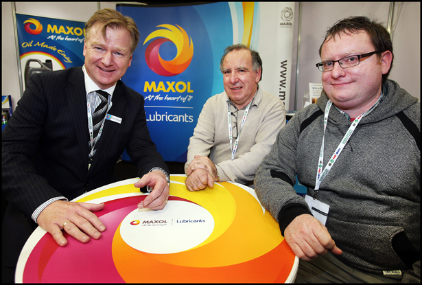 Paul Ward from Maxol Lubricants with Jim Mc Dermott and  Jason Mc Dermott pictured at the Auto Trade Expo at CityWest.