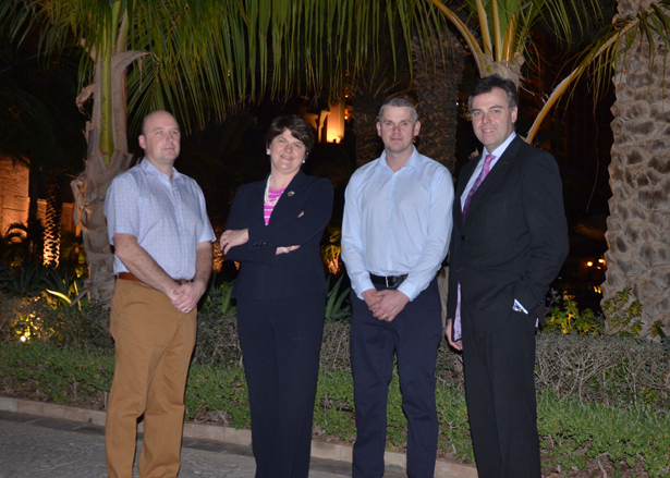 SDC Trailers Export Sales Manager, Stephen McIvor (left) and SDC Parts Managing Director, Gavin Diamond (third from left) pictured along with Enterprise, Trade and Investment Minister Arlene Foster and Invest NI's Chief Executive, Alastair Hamilton at the Atlantis Hotel, Dubai for the launch of SDC Middle East.