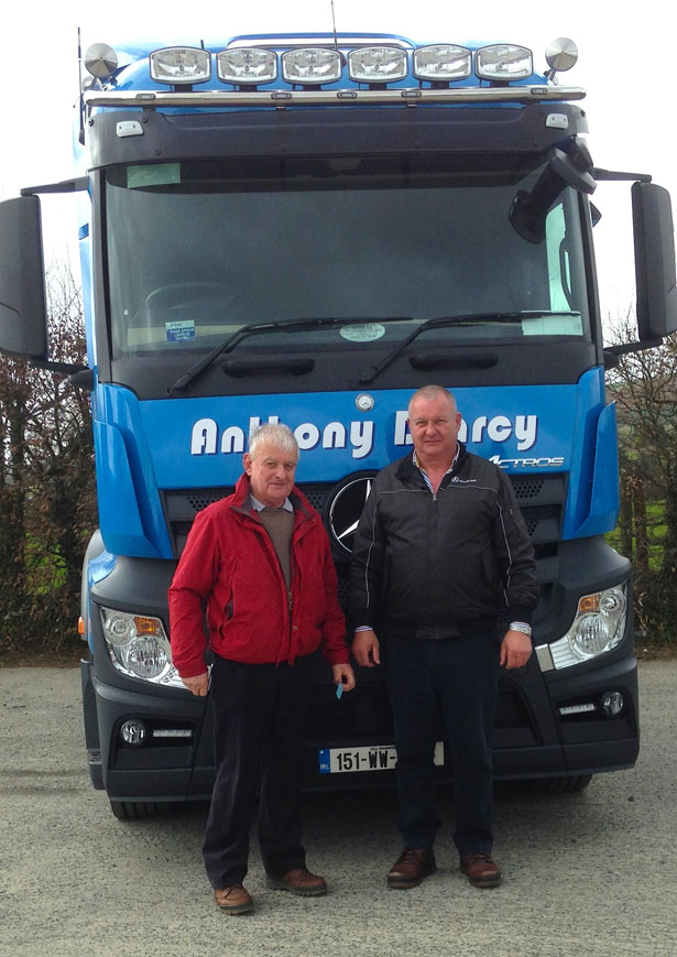 Anthony D'Arcy taking delivery of his new Mercedes-Benz 2545 LS Actros from Pat Kenny (right) of Somers Commercials Ltd.