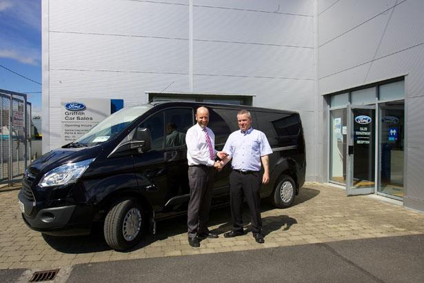 John Brady of JJ Griffith Ltd. presents Gerry with the keys to his new Transit Custom.