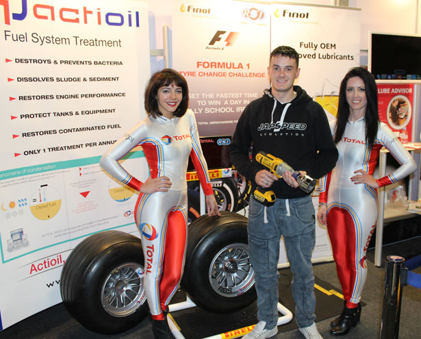 Pictured above is winner Bernard Doyle, Doyle's Garage. Co. Meath with the Total  Grid Girls.