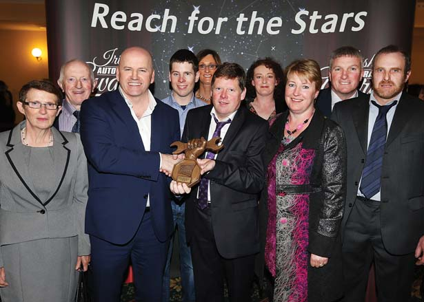 Receveing their Irish Auto Trade Award at CityWest from Sean Gallagher was Bridget Nevin, Billy Nevin, Stephen Gerahy, Paula Larkin, Kieran Gerahy, Olive Connolly, Eithna Gerahy, Michael Larkin and Ger Connolly.