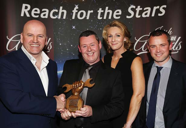 Receiving their Irish Auto Trade Award at CityWest from Sean Gallagher was Barry Mitchelson , Antonia Hendron and Glen Guildea from M50 Truck and Van Centre.