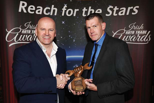 Receveing their Irish Auto Trade Award at CityWest from Sean Gallagher was Michael Carroll from Mutec, Naas Road.