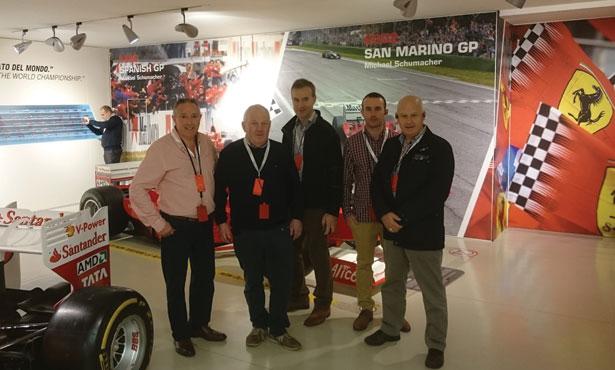 Pictured at Ferrari's Maranello headquarters: (from left to right): Stewart Neill, Ian Scott, of Carryduff Autoparts, Colin Adams, of Colin Adams Motor Parts Newtownards, Sean Slane, Mac Autoparts Belfast, and Alan Jardine of Partsdoc in Coleraine
