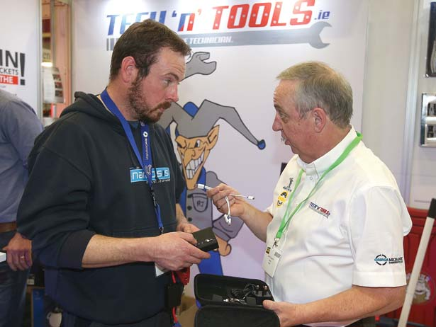 Gerry Flaherty, Tech N Tools speaks to Geared Keller, Hinch Plant Hire, Mountmellick, Laois at the AutotradeExpo event at Citywest Event Centre. Picture credit; Damien Eagers 17/10/2015