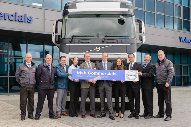 Conor and Barry Horan (centre) with the management and sales team of Irish Commercials as they announce the development of their new Santry depot. (Left to right) Jim Bergin, Chris Watts, Pat Conlon, Caroline O'Connor, Conor Horan, Barry Horan, Pauline Keating, Paul O Ceallaigh, Ciaran Bolger and Joe Lynch