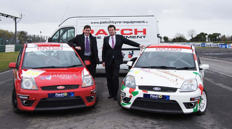 Brian Matthews of Patch Tyre Equipment (right) with Mondello Park General Manager Roddy Greene at Mondello Park on the announcement of Patch Tyre Equipments' sponsorship of the 2016 Patch Fiesta ST Championship.