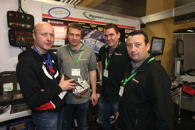 Alfred Inglis, Ken Fildes, Clonsilla with Brendan Ryan, Paddy Hendrick, and Kevin McGrath, Ryan Automotive at the Auto Trade EXPO.