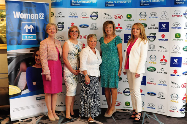 L-R Regina Doherty Government Chief Whip, and Minister of State in the Department of An Taoiseach, Moyagh Murdock CEO of the Road Safety Authority Penny Ferguson, Founder of The Living Leader, Mary Kennedy Master of Ceremonies,Gillian Fanning Marketing, Director of Serfac Limited, Member of the SIMI Management Board and Chairperson of the SIMI Wholesalers committee