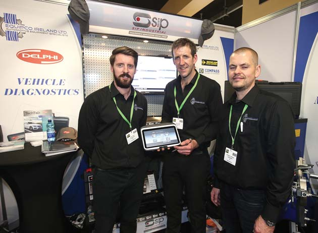 John Rigney, Eamon Rigney, and Mindaugas Virbukas, Equipco Ireland Ltd on their stand at Auto Trade EXPO 2015.