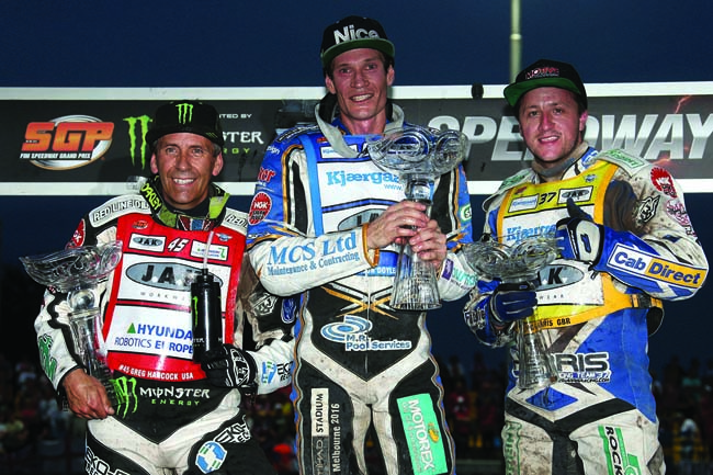 NGK-sponsored riders Jason Doyle (centre), Greg Hancock (left) and Chris Harris swept the board in Prague. Photo: courtesy of Speedway GP