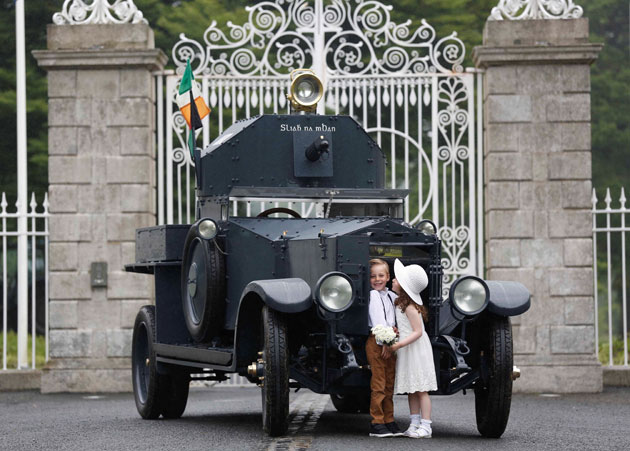 Pictured at the launch of the 2016 Irish Classic & Vintage Motor Show is AJ Teeling (6 years, Bettystown Co. Meath) and Doireann McNally (5 years, Dundalk Co. Louth) with the iconic 1920s Irish Army vehicle 'Sliabh na mBan' outside Áras an Uachtaráin. Organized by the Irish Jaguar & Daimler Club and sponsored by AXA Insurance the show has chosen CMRF Crumlin (the charity body for Our Lady's Children's Hospital Crumlin and the National Children's Research Centre) as the charity partner for its 25th anniversary. Tickets for the show on July 3rd are now available atwww.irishjagclub.ie