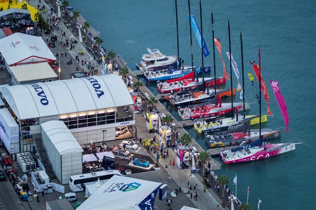 Aerial view of the fleet in the Volvo Ocean Race Village in Alicante, Spain (2014-15). Photo: Ainhoa Sanchez/Volvo Ocean Race