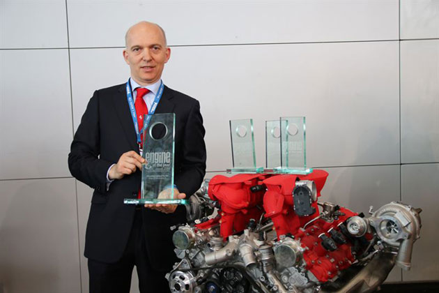 Vittorio Dini, Head of Powertrain at Ferrari, collects the International Engine of the Year Award for the 3.9-litre biturbo V8