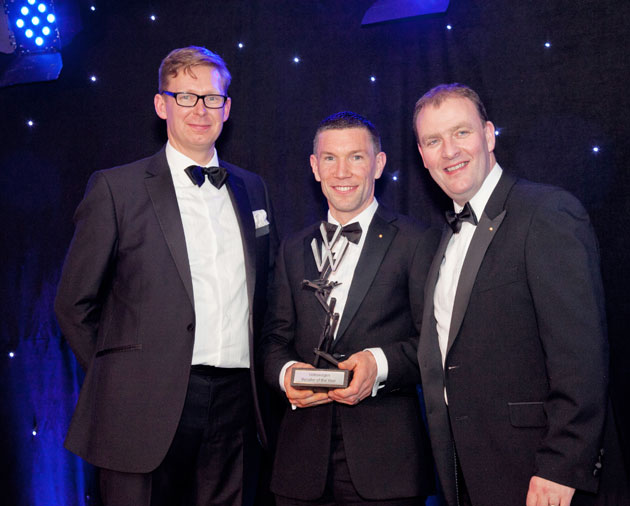 Lars Himmer, Group Managing Director of Volkswagen pictured with Niall Hayes and Paul Burke receiving the Passenger Car Dealer of the Year 2016 award at the recent Gold Pin Awards. Pictured L-R: Lars Himmer, Group Managing Director of Volkswagen, Niall Hayes, and Paul Burke.
