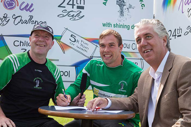 Liam Callan, Albion Rovers, Conor Grimes, Louth GAA star and former Albion Rovers player and FAI Chief Executive, John Delaney