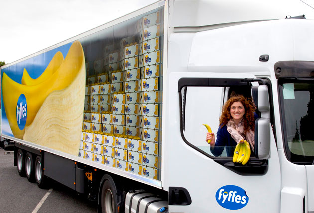 Fyffes marketing manager Emma Hunt-Duffy is pictured unveiling the company's new truck livery, currently being rolled out across its fleet of heavy goods vehicles.