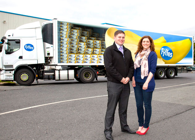 Ciaran Sweeney, general manager at Fyffes ripening and distribution centre in Swords is pictured with the company's marketing manager Emma Hunt-Duffy at the unveiling of the firm's new truck livery, currently being rolled out across its fleet of heavy goods vehicles.