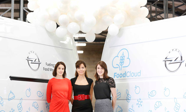 Gillian Whittall, Head of Marketing and PR for Opel Ireland (centre) joined FoodCloud Co-Founders Aoibheann O'Brien and Iseult Ward in their Dublin depot to announce details of the partnership.