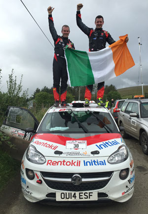 Rob-Duggan-and-Ger-Conway-celebrating-their-MSA-DMACK-British-Junior-Rally-Championship-win