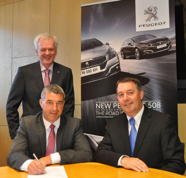 Pictured from left to right: Colin Sheridan, Sales and Marketing Director at Gowan Distributors Limited; Michael Humby, Dealer Principal at Vartry Garage; Des Cannon, Managing Director at Gowan Distributors Limited, Peugeot Importers in Ireland