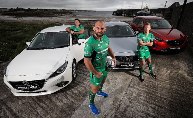 Connacht captain John Muldoon (centre and front) has been appointed as an Official Mazda Brand Ambassador for the 2016/2017 season. John joins fellow teammates Denis Buckley (left) and Kieran Marmion (right) and in this role.