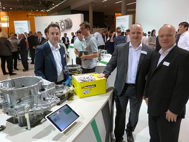 On the Schaeffler stand:  Matthew Selby, Mark Dolloway and Martyn Holt strike a pose for our photographer.