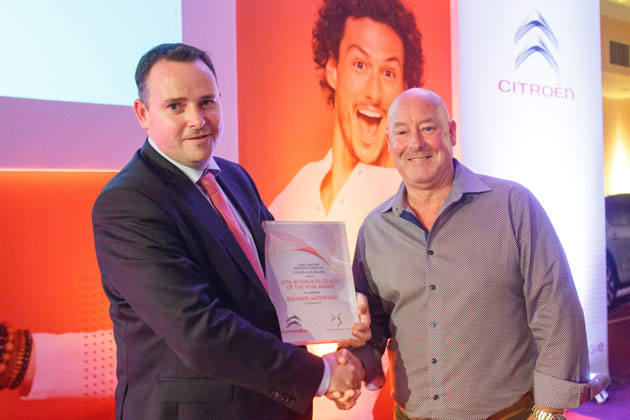 Pictured at the presentation is Chris Graham, Managing Director, Citroën & DS Ireland with Keith Browne, Sales Manager, Bolands Waterford.