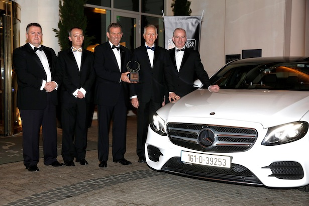 Michael Sheridan and John Galvin of the Irish Car of the Year committee, Ciaran Allen and Stephen Byrne of Mercedes-Benz and Tom Dennigan, Continental Tyres Ireland with the overall winner of the Irish Car of the Year 2017 – Mercedes-Benz E-Class