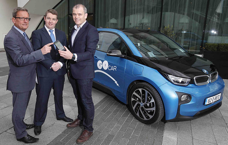 Pictured at the launch of the GoCar BMW i3 electric vehicle range were (from L to R): Michael Nugent, Director of Sales at BMW Group Ireland, Kevin Hennebry, Head of Marketing at BMW Group Ireland with Colm Brady Managing Director of GoCar.    The GoElectric range consists of a fleet of 10 new automatic BMW i3 REX 94Ah vehicles which will be located at 10 locations with charging points across the city.