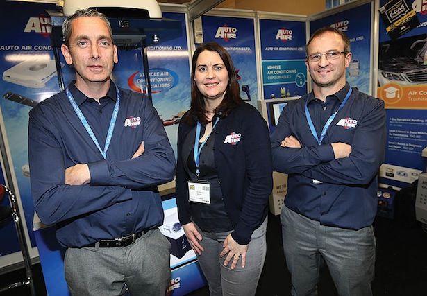 Mark Delany, Edel Kealy and Brendan Kealy at their Auto Air Stand at the Auto Trade Expo in CityWest Dublin.