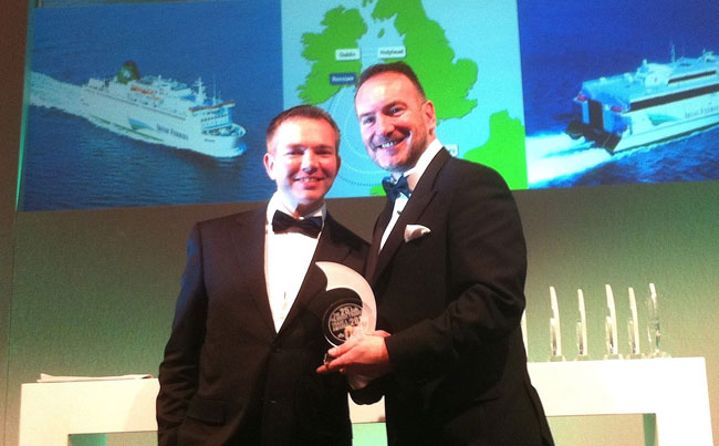 rish Ferries head of passenger sales Dermot Merrigan (right) pictured receiving the 'Best Ferry Company 2016' award from sponsor Niall McCarthy of Cork Airport at the 25th Silver Jubilee Irish Travel Trade News Awards ceremony held in Dublin recently.
