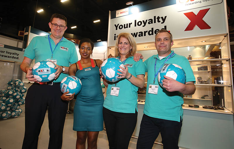 Bosch Team, Steve Smith, Valerie Oyiki, Helen Watking and Gareth Campbell pictured on the Bosch eXtra stand,at the Auto Trade Expo 2016 in the Citywest convention center.