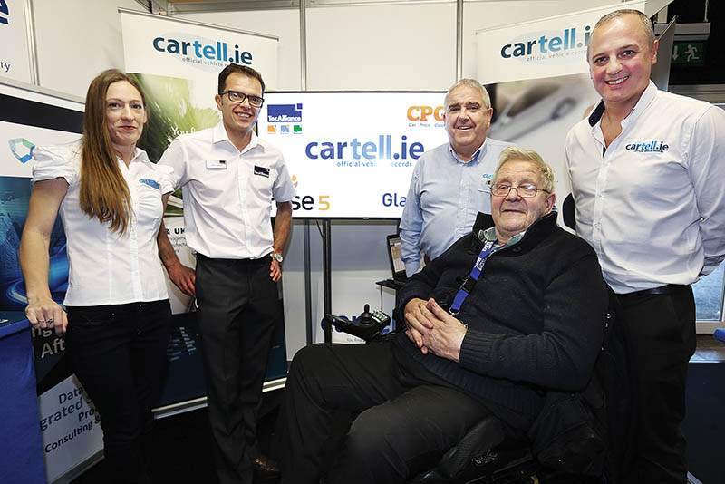 Kim Flynn from Cartell.ie, Jason Meade from Tecalliance, Donal Lawlor from Cartell.ie, Jim Boland and Richard Lahiff fom Cartell.ie at the Cartell Stand at the Auto Trade Expo in CityWest Dublin.