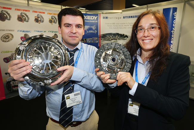 Andrew Nelson and Elisabeta Itul from the Exedy Clutch Europe Stand at the Auto Trade Expo in CityWest Dublin.