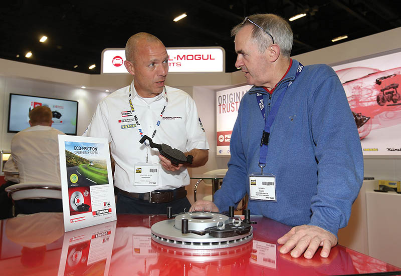 Jonathan Allen, Regional Marketing Manager pictured with TJ Carey from TJ Carey Motor services Liscannor, on the Federal-Mogul Motorparts stand,at the Auto Trade Expo 2016 in the Citywest convention center.
