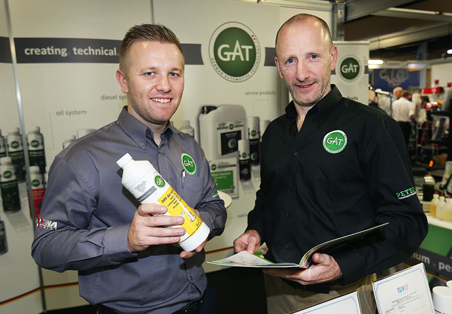 Alan Lockington and Vincent McCaffrey from the GAT - German Aotomotive Technology Stand at the Auto Trade Expo in CityWest Dublin.