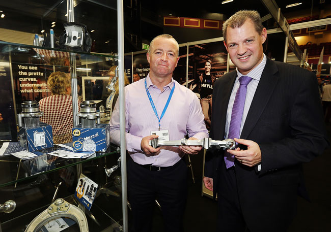 Tom Kennedy from Strongline Autoparts Ltd and David Mac Neaney from Meyle at the Meyle Stand at the Auto Trade Expo in CityWest Dublin.