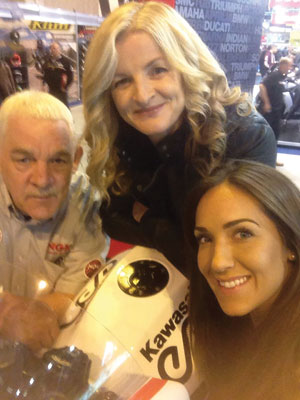 Maria Costello MBE (centre) with NGK Sales Representative Ray Nicholson and NGK BoxClever girl Gemma Lloyd
