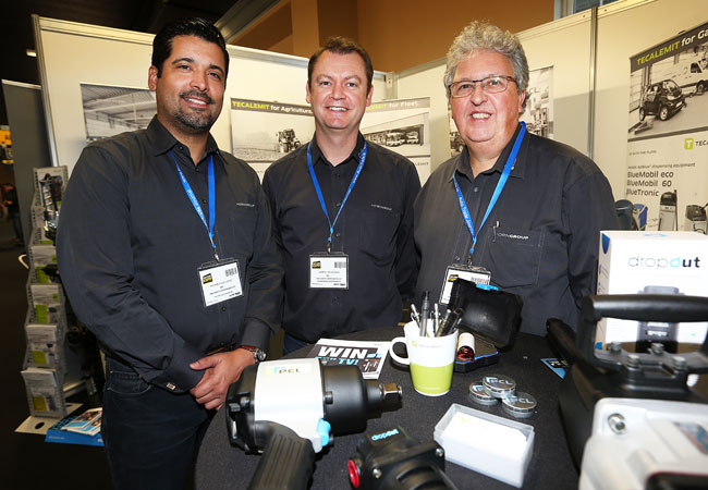 Ricardo Luis Lopez from PCL Pneumatic Components Ltd, Gareth McGuigan from PCL Pneumatic Components Ltd and Brian Mosley from Tecalemit at the PCL -Pneumatic Components Ltd Stand at the Auto Trade Expo in CityWest Dublin.