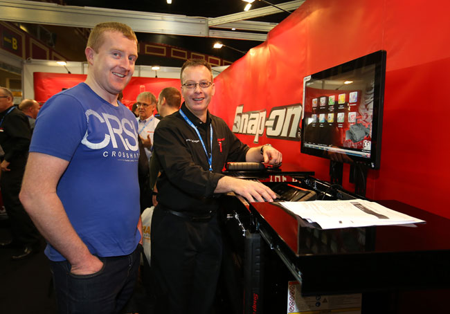 James Kilboyle from Eamon Murphy Car sales pictured with Damien Graham MD at DG Tools on thr Snap-On Tools stand, at the Auto Trade Expo 2016 in the Citywest convention center.
