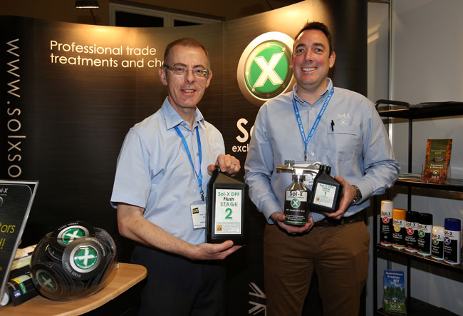 Sean O Neill, Operations Manager and Richard Mason, Director pictured on the  Sol-X stand at the Auto Trade Expo 2016 in the Citywest convention center.