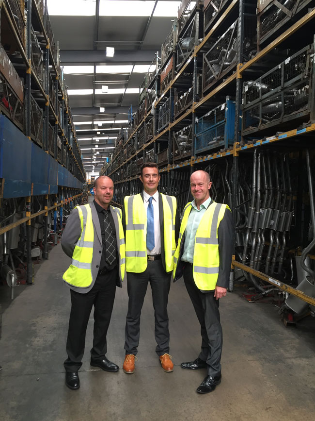 From left to right, IMI Business Development Managers Colin Hankey and Barry Williams with Klarius Business Development Director Paul Hannah, during a tour of the Klarius facility in Staffordshire in England.